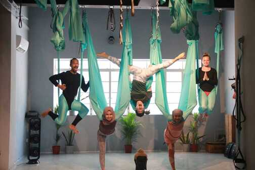 aerial teachers with a different pose at msmchq